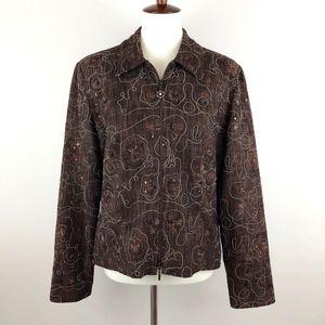 Jospeh Ribkoff Zip Front Blazer Embroidered Brown